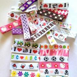 Hair Clips 25 lined with print grosgrain ribbon alligator hair clips random mix FREE SHIPPING!