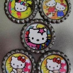 Bottle Caps bright color kitty theme lot of 5