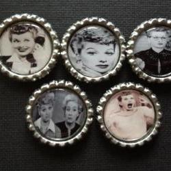 I Love Lucy theme bottle cap magnets lot of 5